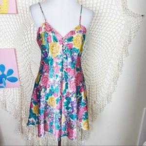 Vintage floral spaghetti strap mini slip dress M